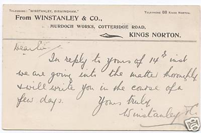 Note from Winstanley & Co