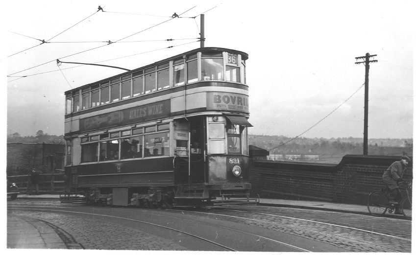 Tram leaving Stichley over the bridge by the Breedon Cross 