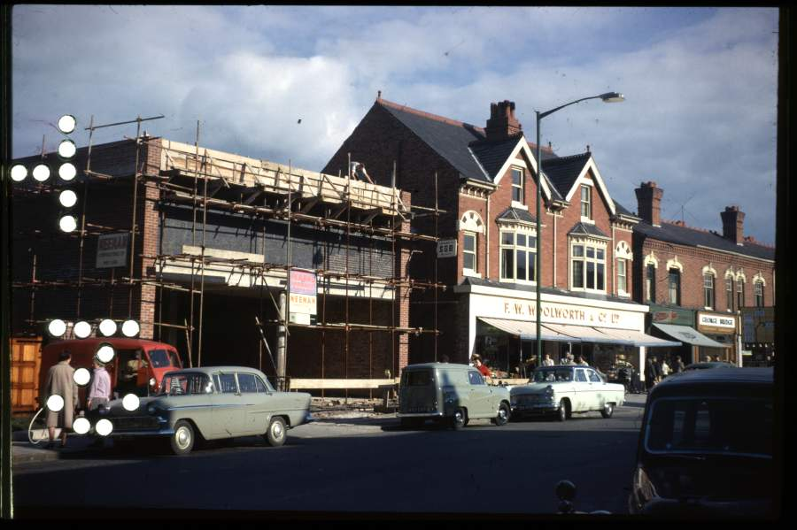 September 1962: the construction of Pearks Supermarket on Watford Road (now a Spar). Next to Woolworths is Boots and George Bridge.