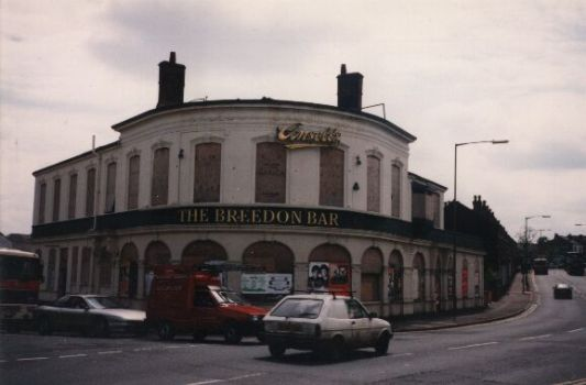 Breedon Bar in 1997. It closed in about 1992, caught fire in about 1996, and was finally demolished in the early 2000s, it's now some flats.