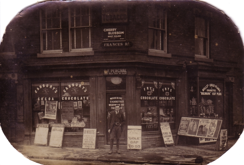 "The ""bottom shop"" at the corner of Frances Road and Lifford Lane, early 1930s"