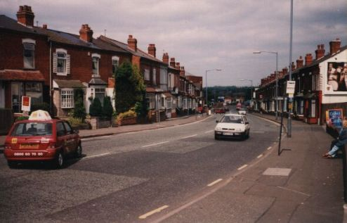 Pershore Road, looking towards town from outside the petrol station, 1997