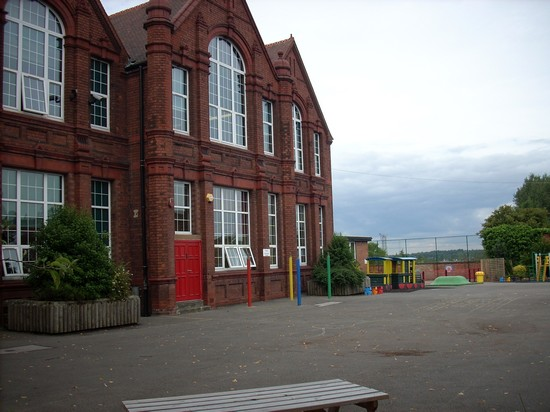 Cotteridge School in 2008: the main building from the infant playground